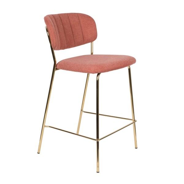 Zuiver Jolien Tresenstuhl in Gold und Stoff pink