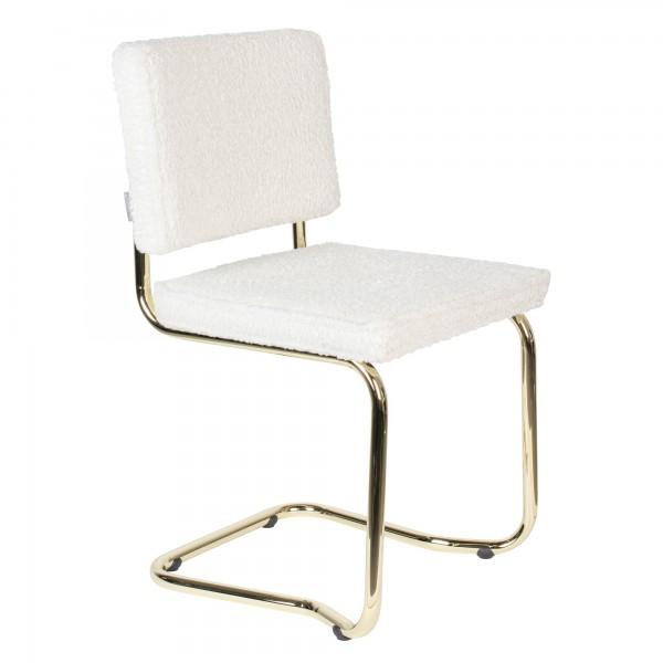 Zuiver Stuhl Teddy Kink weiß mit Gold
