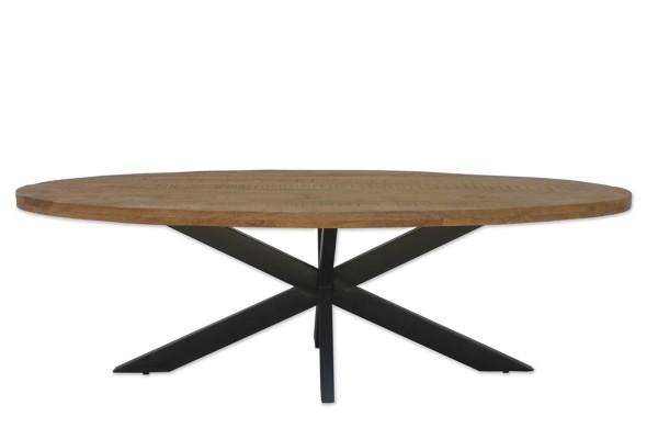 Esstisch Mangoholz massiv oval X-Beine Metall schwarz
