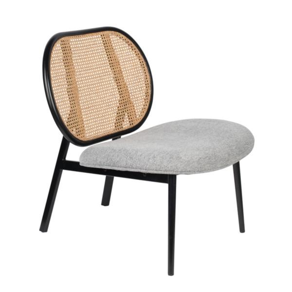 Zuiver Sessel Spike in Stoff hellgrau mit Rücken geflochten