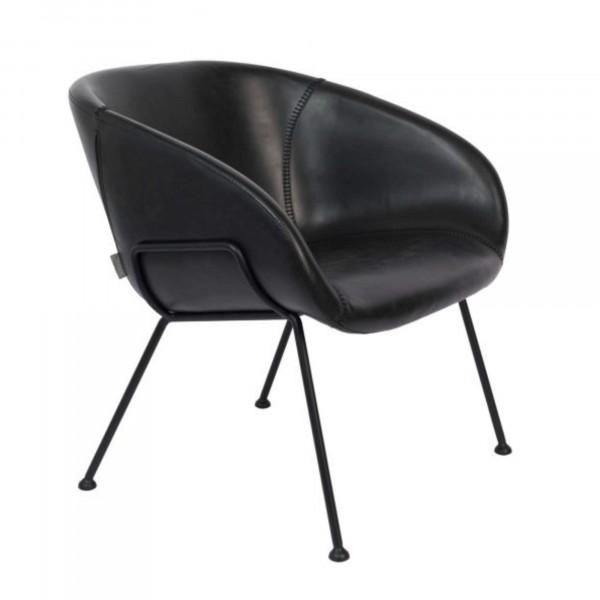 Zuiver Loungesessel FESTON in Kunstleder schwarz