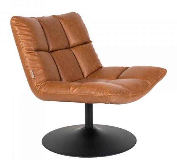 Dutch Bone Lounge Chair BAR VINTAGE braun mit Tellerfuß schwarz drehbar