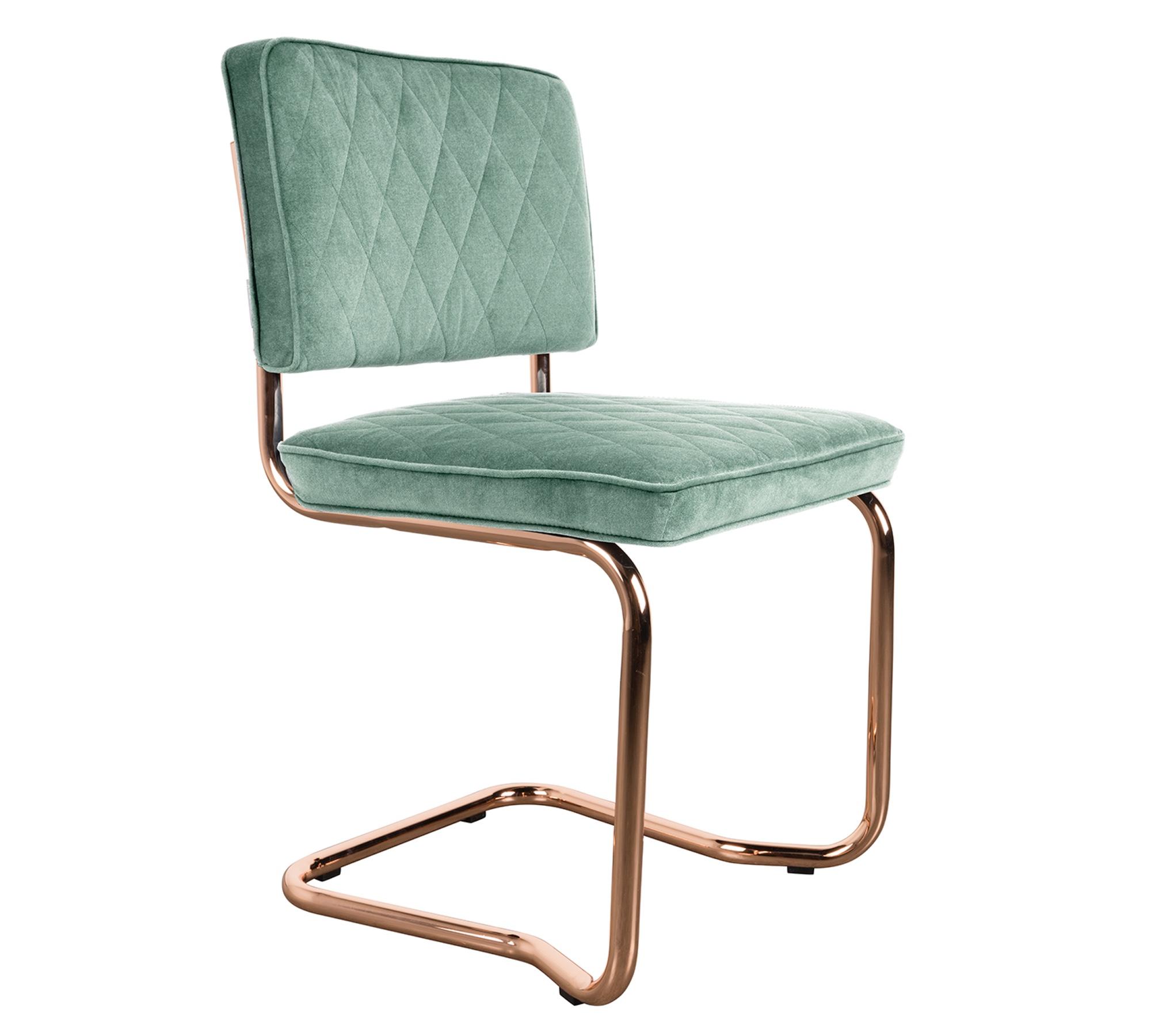 Zuiver Stuhl Diamond Kink Minty Grün Mit Freischwinger Gestell Kupfer