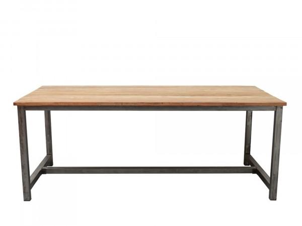 Esstisch BELLA 160x90 cm mit O-Gestell aus Metall mit Massivholztischplatte