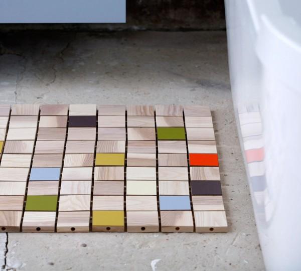 Mint Design Fußmatte in Fliesen-Optik aus Massivholz erweiterbar