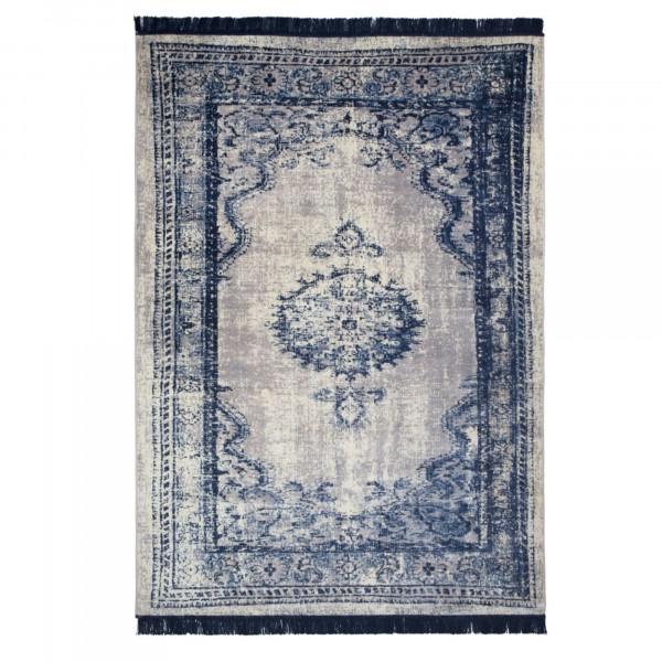 Zuiver Orient Teppich mit Fransen in blau