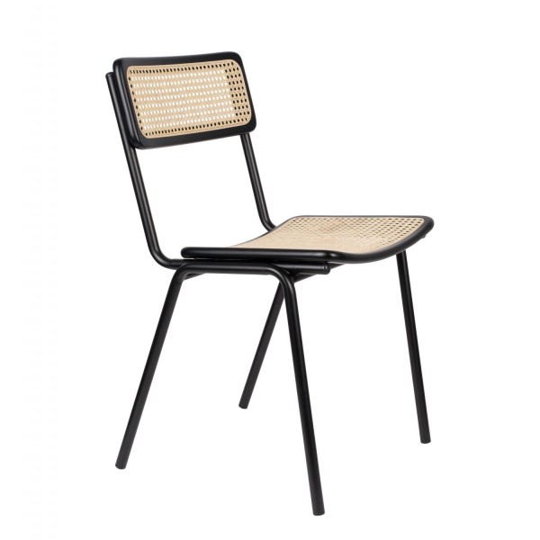 Zuiver Stuhl JORT schwarz mit Rattan