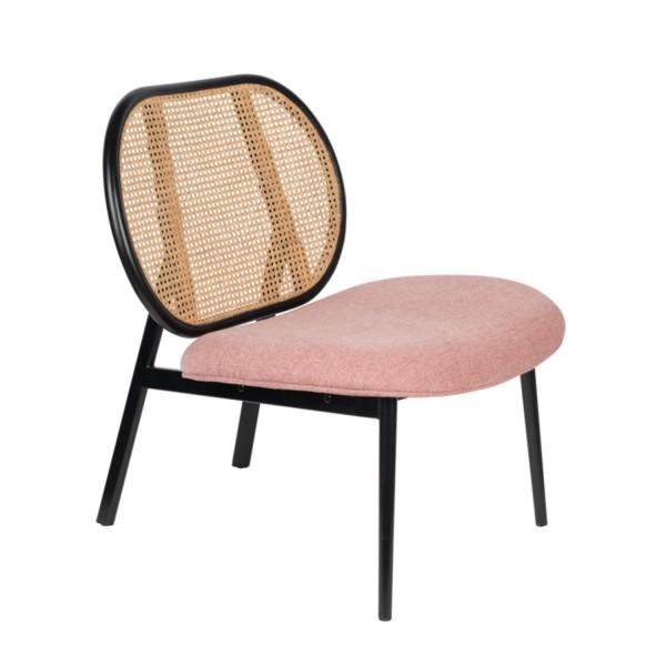 Zuiver Sessel Spike in Stoff pink mit Rücken geflochten