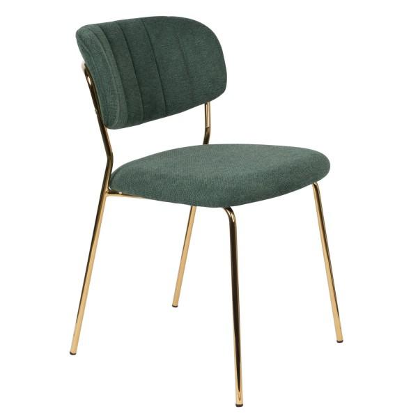 Zuiver Stuhl Jolien mit Goldgestell und Stoff dunkelgrün