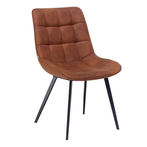 Designer Stuhl Kunstleder gesteppt braun
