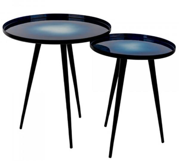 Zuiver Beistelltisch-Set FLOW in blau/schwarz