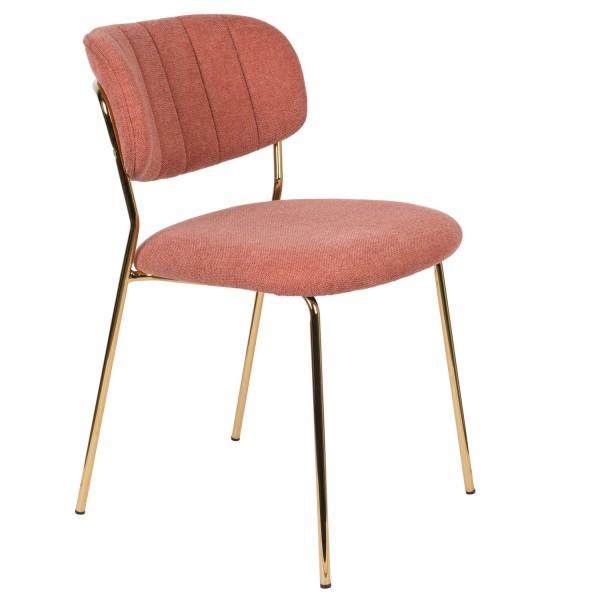 Zuiver Stuhl Jolien mit Goldgestell und Stoff pink