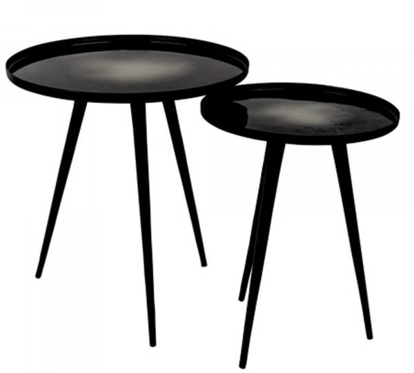 Zuiver Beistelltisch-Set FLOW in schwarz