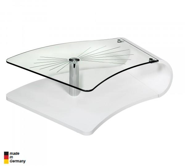 Vierhaus Designer Couchtisch 1007WSCGF in weiß lackiert + Sternfacetten Glasplatte