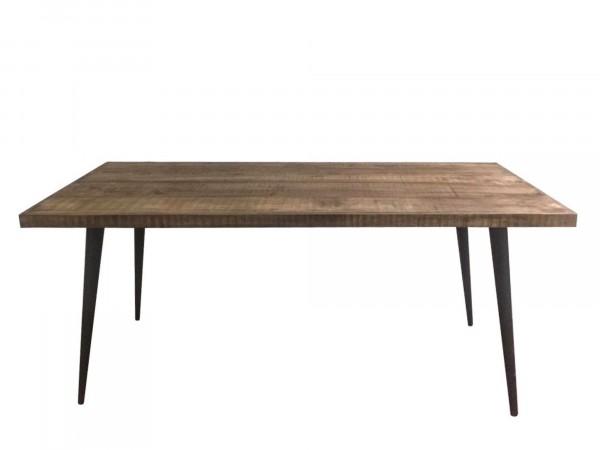 Massivholztisch mit Eisenbeinen