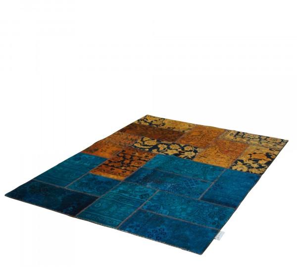 Vintage Carpets 147x210cm Persian Patchwork Teppich handgeknüpft orange / petrol