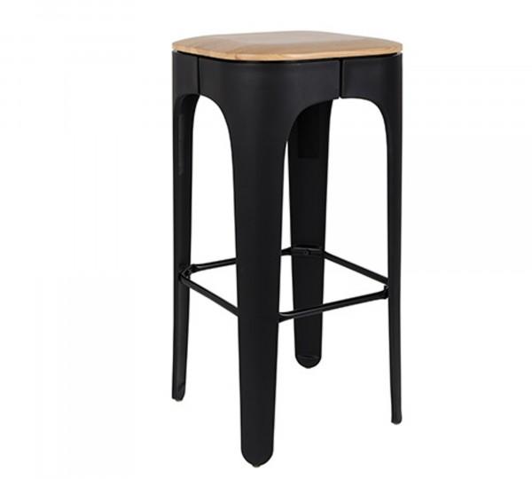 Barhocker im Industrial Design mit Esche Holzsitz