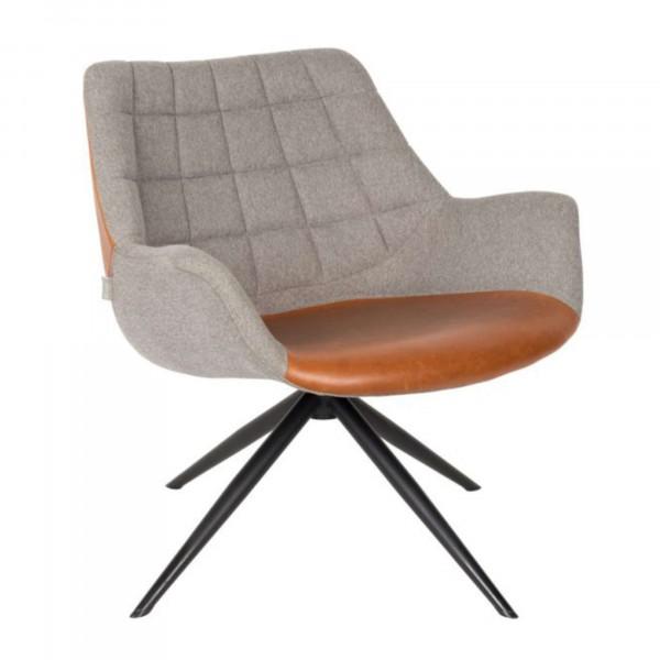 Zuiver Sessel Doulton Kunstleder braun Stoff grau