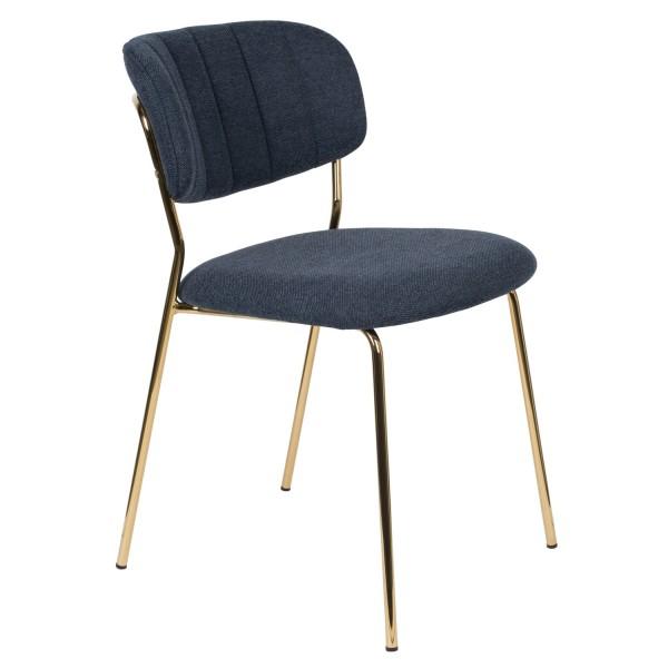 Zuiver Stuhl Jolien mit Goldgestell und Stoff dunkelblau