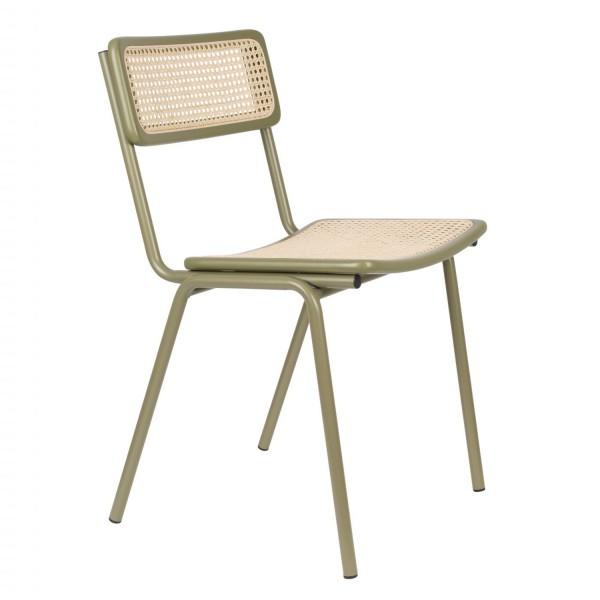 Zuiver Stuhl JORT grün mit Rattan