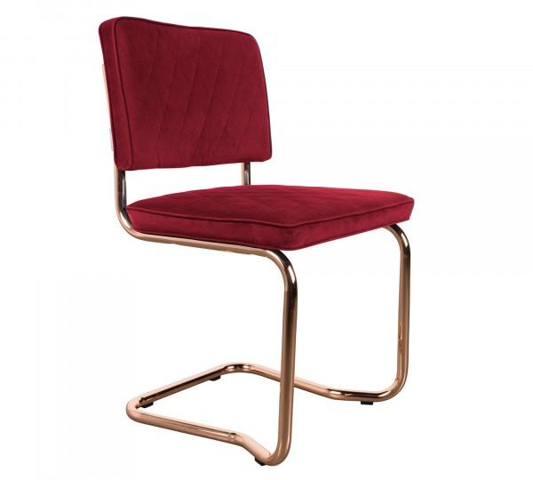 Zuiver Freischwinger Stuhl DIamond Kink rot mit Kupfergestell