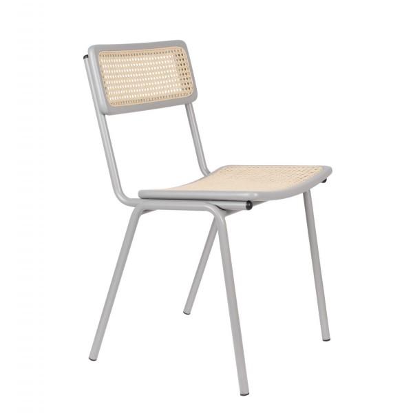 Zuiver Stuhl JORT in weiß mit Rattan-Geflecht