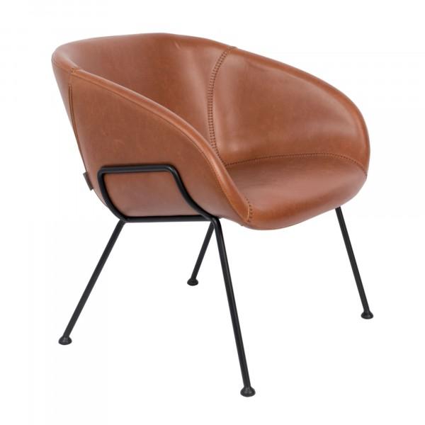 Zuiver Sessel Feston in Vintage Kunstleder braun