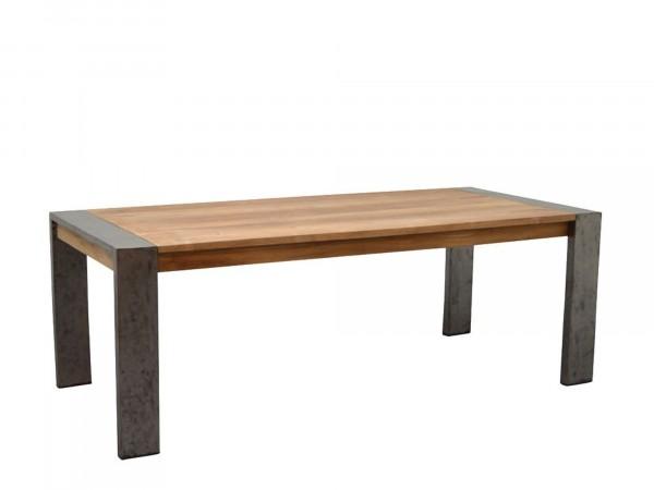 Esstisch Massivholz Teak mit Eisenbeinen
