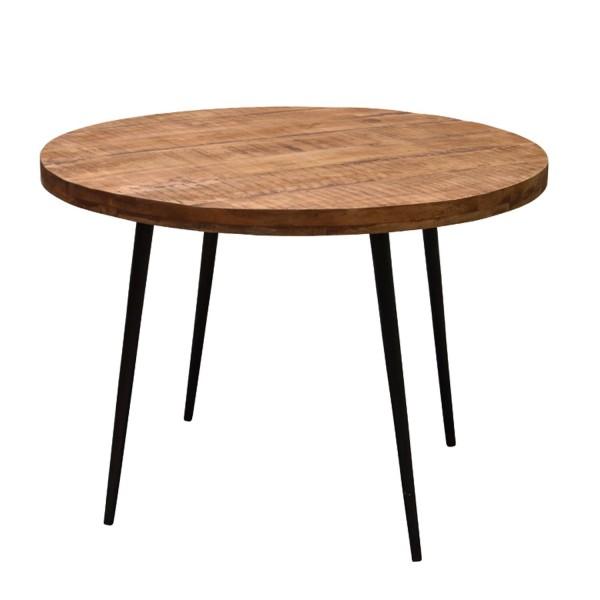 WOOD Esstisch 120 cm rund Tischplatte Mangoholz 6 cm