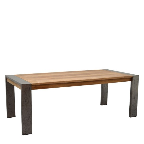 Tisch Massivholz Teakholz rechteckig mit Stahlgestell