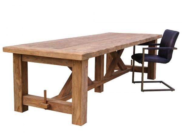 Esstisch SENNA 300x100 cm aus Massivholz in Fachwerk-Optik