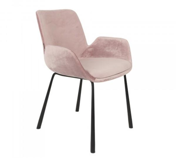Zuiver Brit Armlehnstuhl Stoff pink samtartig
