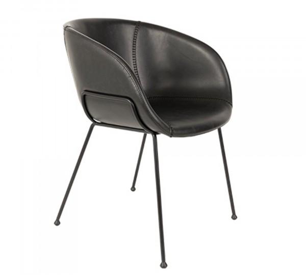 Stuhl FESTON von Zuiver in Vintage Kunstleder schwarz